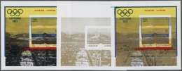 1971, OLYMPIC GAMES SAPPORO '72 - 9 Items; Progressive Single Die Proofs For The Souvenir Sheet With Gold And Black... - Ajman