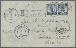 1914, Early Incoming Mail: Incoming Registered Cover From Peitaiho, China, Franked Republic 10c. Pair, Addressed To... - Aden (1854-1963)