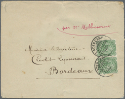 """Aden-Camp: 1905, India 4 A. Horizontal Pair Tied Two Strikes """"ADEN-CAMP 12 AUG 05"""" To Cover To Bank In France,... - Aden (1854-1963)"""