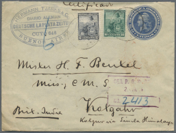 """1904, Boxed """"SEA P.O. 23 / 25 MA 04"""" In Transit On Argentine, Uprated Registered Stationery Envelope (top Reduced... - Aden (1854-1963)"""