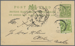 """1897/1898, Incoming Mail From KUT/British East Africa, Uprated Stationery Card ½a. Green From """"MOMBASA DE 22... - Aden (1854-1963)"""