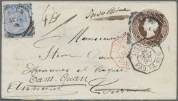 """1890, 1c. Brown Stationery Envelope Used Uprated With 2c. Ultramarine From """"ADEN SE/1/90"""" With Red And Black French... - Aden (1854-1963)"""