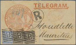 1888 Registered Telegram, Printed By 'The Eastern Telegraph Company', Used From Aden To Mauritius, Franked With... - Aden (1854-1963)