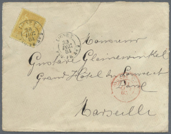 """1884, France 25 C (round Corner) On Envelope (minor Tear) With Double Cds """"LIGNE T PAQ. FR. No2 30 DEC 84"""" And B/s... - Aden (1854-1963)"""