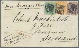 1865 Cover From ADEN To Inverness, Scotland Franked With India 1865 4a. Green, 2a. Orange And 8p. Purple Each... - Aden (1854-1963)