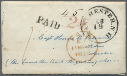 1856, Early Incoming Mail: The Earliest Known Inward Letter From The U.S.A., 1856 Stampless Envelope With Enclosed... - Aden (1854-1963)