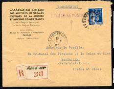 Paix N° 288: Lettre Du 4/5/1938 RECOMMANDEE En FRANCHISE POSTALE - 1921-1960: Période Moderne