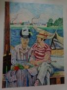 ARGENTEUIL.1874.D'Après Edouard Manet.La Feuille :620 X 460 Mm.Acrylique Sur Papier Par Debeaupuis.1981. - Acryliques