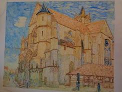 L'église De Moret Au Soleil.D'Après A.Sisley.La Feuille :630 X 500 Mm.Acrylique Sur Papier Par Debeaupuis.1977. - Acryliques