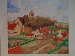 Le Clocher Du Village.D'Après Camille Pissaro.La Feuille :528 X 460 Mm.Acrylique Sur Papier Par Debeaupuis.1980. - Acrilici