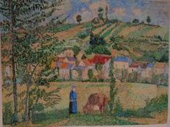 Paysage à Chaponval.D'Après Camille Pissaro.La Feuille :620 X 490 Mm.Acrylique Sur Papier Par Debeaupuis.1971 - Acryliques