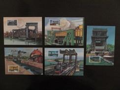 DDR Germany, 1988, 5 Maximum Cards MC MK, Technische Denkmale Schiffshebewerke HUB- Und Zugbrücken Klappbrücke 1