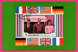 Série Hommes Célèbres - Président Kennedy And Mrs Kennedy - Président De Gaulle - 10 Airmail Riyals - Historische Persönlichkeiten