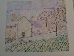 Effets De Neige à L'hermitage.D'Après Camille Pissaro.La Feuille :450 X 400 Mm.Acrylique Sur Papier Par Debeaupuis.1978 - Acryliques