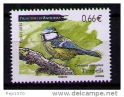 ANDORRA FRANCESA 2014 - FAUNA PAJARO - TINTIPELLA - CYANISTES CAERULEUS  - 1 SELLO - Birds