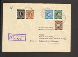 Alli.Bes.1,3,10,20 U.50 Pfg.Ziffer A.Einschreiben-Fernbrief Aus Polsingen V. 1946 M.viol.R-Stempel Einkreis-Stegstempel - Gemeinschaftsausgaben