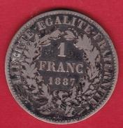 France 1 Franc Cérès 1887 A - H. 1 Franco