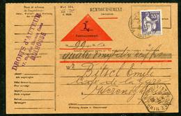 Paix N° 363: CARTE REMBOURSEMENT OB Mulhouse Du 1/11/1938 Pour WERENTZHOUSE (Tarif Alsace Lorraine) - 1921-1960: Période Moderne