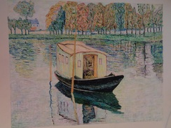 Le Bateau Atelier.D'après Claude Monet.La Feuille :580 X 460 Mm.Acrylique Sur Papier Par Debeaupuis.1977 - Acrilici