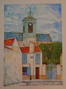 L'église Sainte-Marguerite à Paris.D'après Maurice Utrillo.La Feuille :500 X 325 Mm.Acrylique Sur Papier Par Debeaupuis. - Acryliques