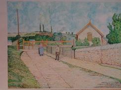 La Barrière Du Chemin De Fer Au Pâtis,Pontoise.D'après Camille Pissaro.560 X 380 Mm.Acrylique Sur Papier Par Debeaupuis. - Acryliques