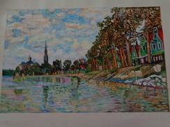 ZAANDAM.D'après Claude Monet.la Feuille:600 X 420 Mm.Acrylique Sur Papier Par Debeaupuis.1968 - Acrilici