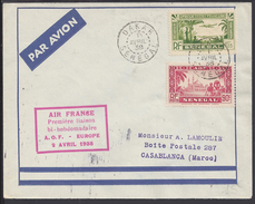 "SENEGAL - 1938 - "" Air France - Première Liaison A.O.F-Europe Bi-hebdomadaire - Enveloppe Vers Casablanca - B/TB - - Sénégal (1887-1944)"
