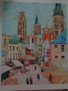 Rouen,rue De L'épicerie Fine.D'après Camille Pissaro .la Feuille:560 X 460 Mm.Acrylique Sur Papier Par Debeaupuis.1980 - Acryliques