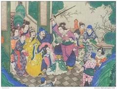 Chine - Rare Gravure Ancienne Papier Toilé - ** Scéne Cruelle - Décor Bucolique; Fleurs & Insectes ** - (39 X 39 Cm) - China