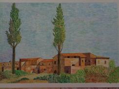 Villa Farnèse,les Deux Peupliers.D'après P-H-de VALENCIENNES Feuille:540 X 330 Mm.Acrylique Sur Papier Par Debeaupuis - Acryliques