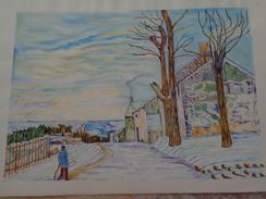 Temps De Neige à Veneux-Nadon.D'après Alfred Sisley. La Feuille:500 X 325 Mm.Acrylique Sur Papier Par Debeaupuis.1968 - Acryliques