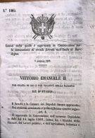 Convenzione Per La Concessione Di Strade Ferrate Nell'Isola Di Sardegna 1863 - Vecchi Documenti