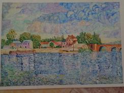 Le Pont De Sèvres.D'après Alfred Sisley. La Feuille:500 X 325 Mm.Acrylique Sur Papier Par Debeaupuis.1976 - Acryliques