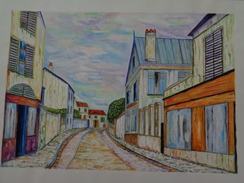 Paysage De Banlieue.D'après Maurice Utrillo. La Feuille:500 X 325 Mm.Acrylique Sur Papier Par Debeaupuis.1968 - Acryliques