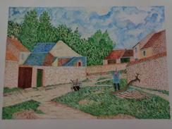 Rue Villageoise à Marlotte.D'après Alfred Sisley. La Feuille:480 X 325 Mm.Acrylique Sur Papier Par Debeaupuis.1978 - Acryliques