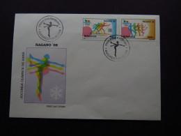 Postcard Romania Prima Zi A Emisiunii Buccuresti Olympics Skiing Nagano  1998 FDC - Cartes Postales