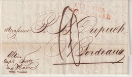 ETATS - UNIS : DE LA Nelle ORLEANS . POUR BORDEAUX . ENTREE EN ROUGE (43mm) . COLONIES PAR LE HAVRE . 1822 . - United States