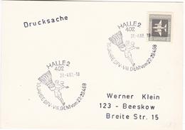847 Germany DDR HALLE 2 1968 10 Jahre DFV Badminton Bogenschiessen Tir à L'arc
