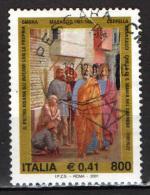ITALIA - 2001 - MASACCIO: SAN PIETRO RISANA GLI INFERMI CON LA PROPRIA OMBRA - PAINTING - FIRENZE - USATO - 6. 1946-.. República