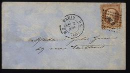 Percé En Ligne YT 13 Napoléon Empire 10ct Bistre Type II S/ Enveloppe Locale Obl B82 CAD PARIS B2 2 11 - Marcophilie (Lettres)
