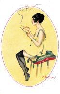 [DC3966] CPA - DONNA CON BOCCHINO - FIRMATA A. LE DUC - Viaggiata 1919 - Old Postcard - Mode