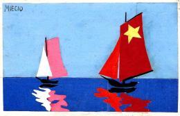 [DC3994] CPA - COLLAGE - BARCHE A VELA SUL MARE - Viaggiata 1941 - Old Postcard - Cartoline