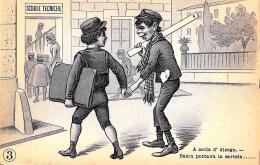 [DC3995] CPA - SCUOLE TECNICHE - A SCOLA D' DISEGN BASIN PORTAVA LA CARTELLA ... - Non Viaggiata - Old Postcard - Humor