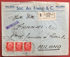 IMPERIALE 75 C. Striscia Di Tre SU RACCOMANDATA DA ROMA A MILANO IN DATA 26/3/42 - 1900-44 Vittorio Emanuele III