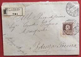RECANATI Lineare + GULLER + PORTO POTENZA PICENA Annulli SU RACCOMANDATA IN DATA 17/8/28 - 1900-44 Vittorio Emanuele III