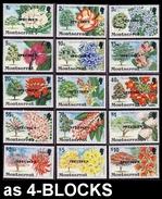 CV:€130.00 MONTSERRAT 1976 Big Trees Flowers SPECIMEN 4-BLOCKS:15 (60 Stamps) [spécimen,Muster,muestra,saggio] - Montserrat