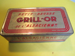 Boite En Fer/Alimentaire/Petit-Beurre GRILL-OR De L'Alsacienne/Biscuits Au Lait Frais/France/Vers1930-50     BFPP104 - Boîtes