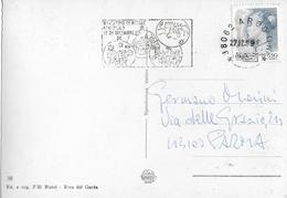 """ANNULLO A TARGHETTA """"MERCATINO DI NATALE ASBURGICO """"  UFFICIO DI ARCO (TN) SU CARTOLINA CASCATA DEL VARONE  ED. BIATEL - 6. 1946-.. Repubblica"""