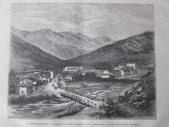 2  Gravure 1871  La Percée Des ALPES   Vue Generale  De La Vallée De  BARDONNECHE    Versant Italien - Vieux Papiers