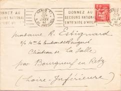 FRANCE ENVELOPPE DU 22 JANVIER 1941 DE PARIS POUR BOUGNEUF EN RETZ - France